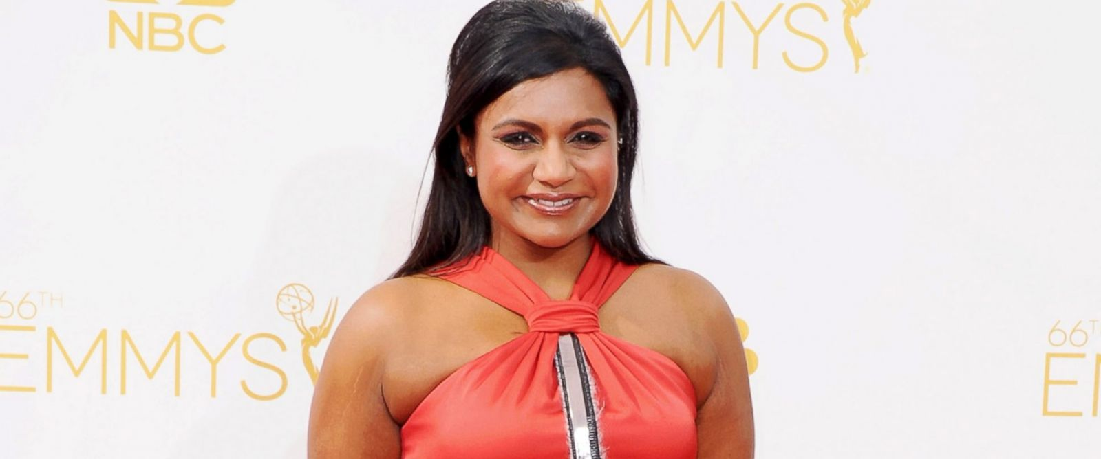 PHOTO: Mindy Kaling arrives at the 66th Annual Primetime Emmy Awards at Nokia Theatre L.A. Live, Aug. 25, 2014, in Los Angeles.
