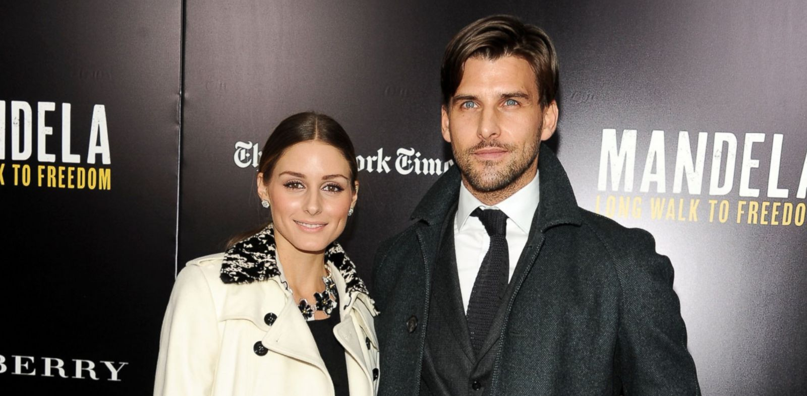 "PHOTO: Olivia Palermo, left, and model Johannes Huebl attend the screening of ""Mandela: Long Walk to Freedom,"" Nov. 25, 2013 in New York City."