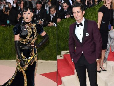 PHOTO: Katy Perry attends the Costume Institute Gala at Metropolitan Museum of Art, May 2, 2016, in New York. Orlando Bloom attends the Manus x Machina: Fashion In An Age Of Technology May 2, 2016 in New York.