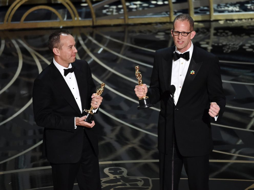 PHOTO: Jonas Rivera, left, and Pete Docter accept the Best Animated Feature Film award for Inside Out onstage during the 88th Annual Academy Awards at the Dolby Theater, Feb. 28, 2016 in Hollywood, California.