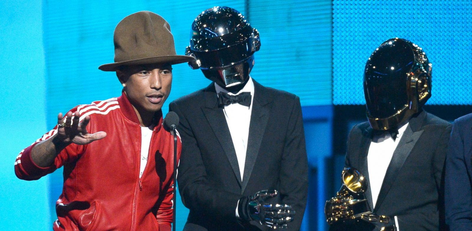 PHOTO: From left, Pharrell Williams is pictured with Thomas Bangalter and Guy-Manuel de Homem-Christo of Daft Punk during the 56th GRAMMY Awards on Jan. 26, 2014 in Los Angeles, Calif.