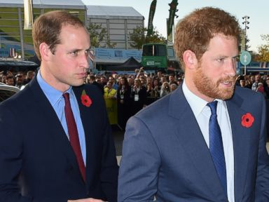 PHOTO:Prince William, Duke of Cambridge and Prince Harry attend the 2015 Rugby World Cup Final match between New Zealand and Australia at Twickenham Stadium, Oct. 31, 2015, in London.