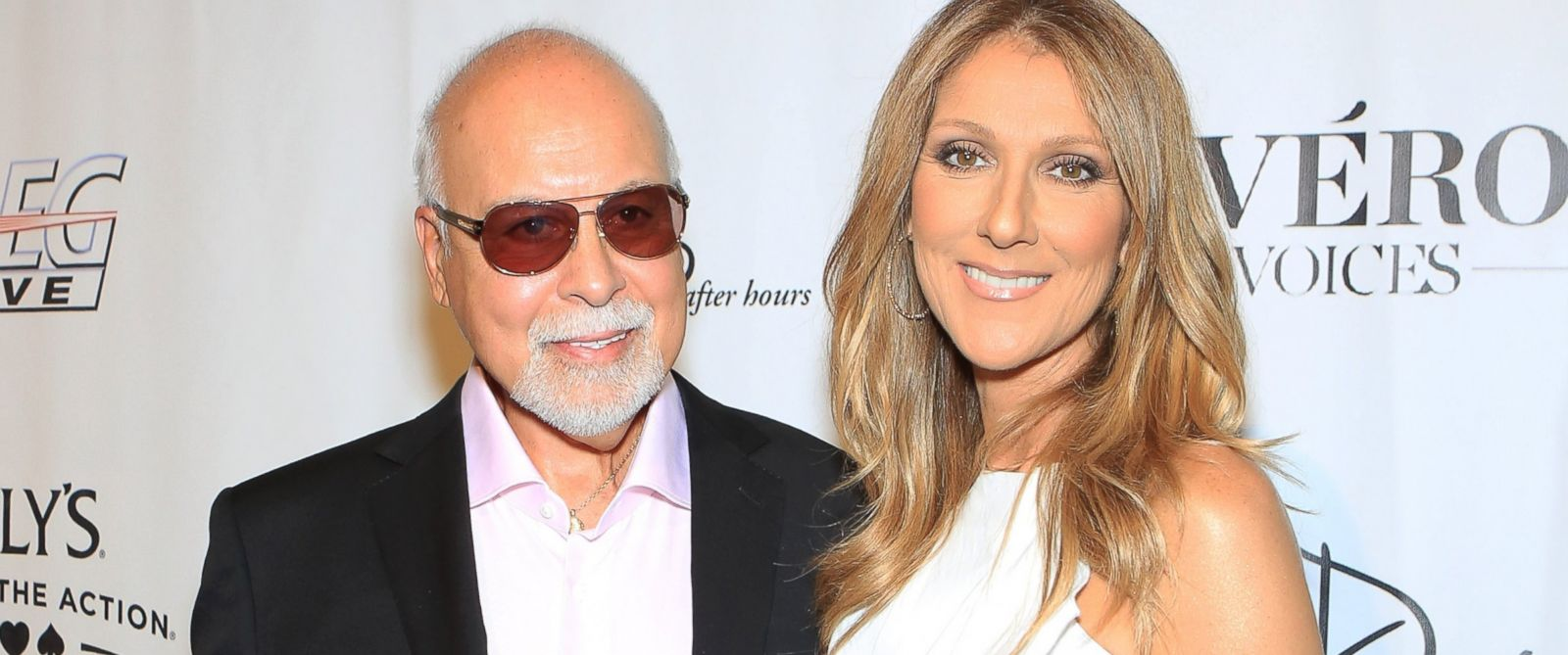 """PHOTO: Rene Angelil, left, and Celine Dion arrive at the premiere of the show """"Veronic Voices"""" at Ballys Las Vegas, June 28, 2013 in Las Vegas."""