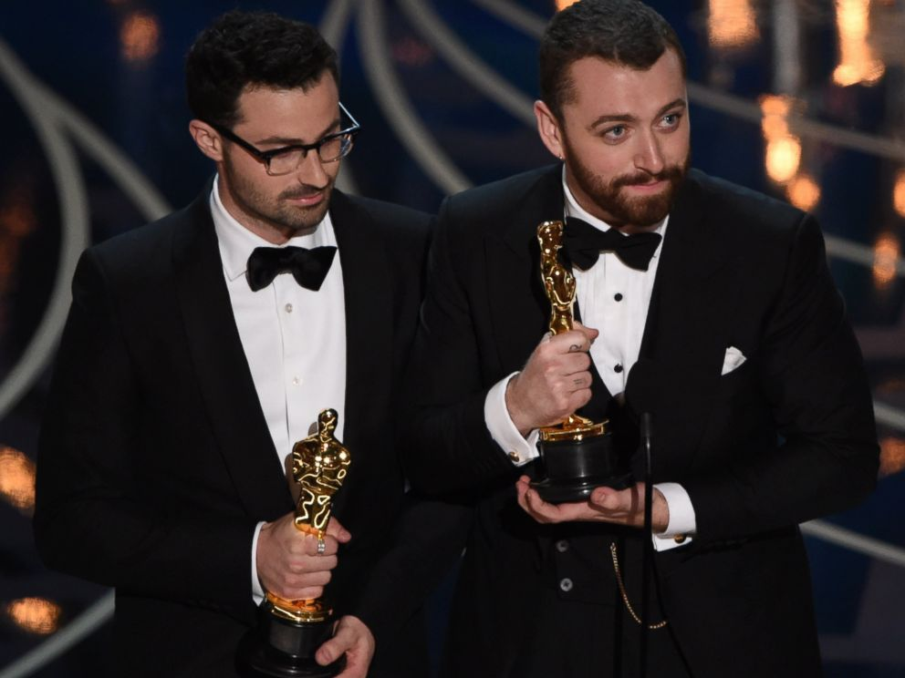 PHOTO:Singer Sam Smith and Composer Jimmy Napes accept their award for Best Song on stage at the 88th Oscars, Feb. 28, 2016, in Hollywood, Calif.