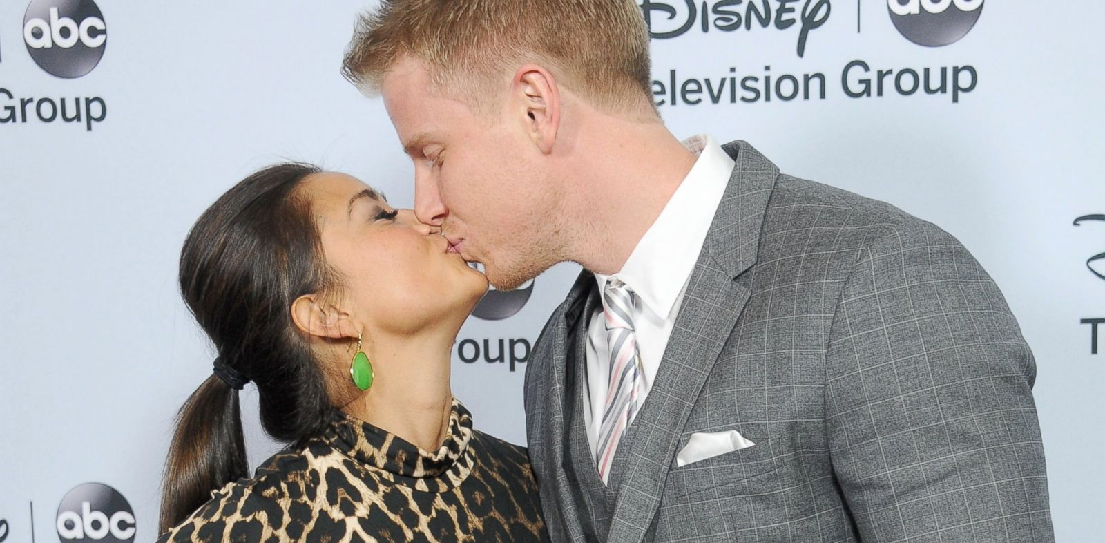 PHOTO: Sean Lowe and Catherine Giudici arrive at the ABC/Disney TCA Winter Press Tour party at The Langham Huntington Hotel and Spa, Jan. 17, 2014, in Pasadena, Calif.