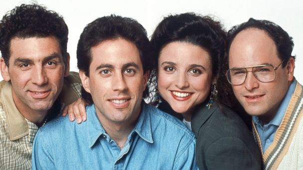 PHOTO: From left to right, Michael Richards as Cosmo Kramer, Jerry Seinfeld as Jerry Seinfeld, Julia Louis-Dreyfus as Elaine Benes, Jason Alexander as George Costanza are seen in this undated image.