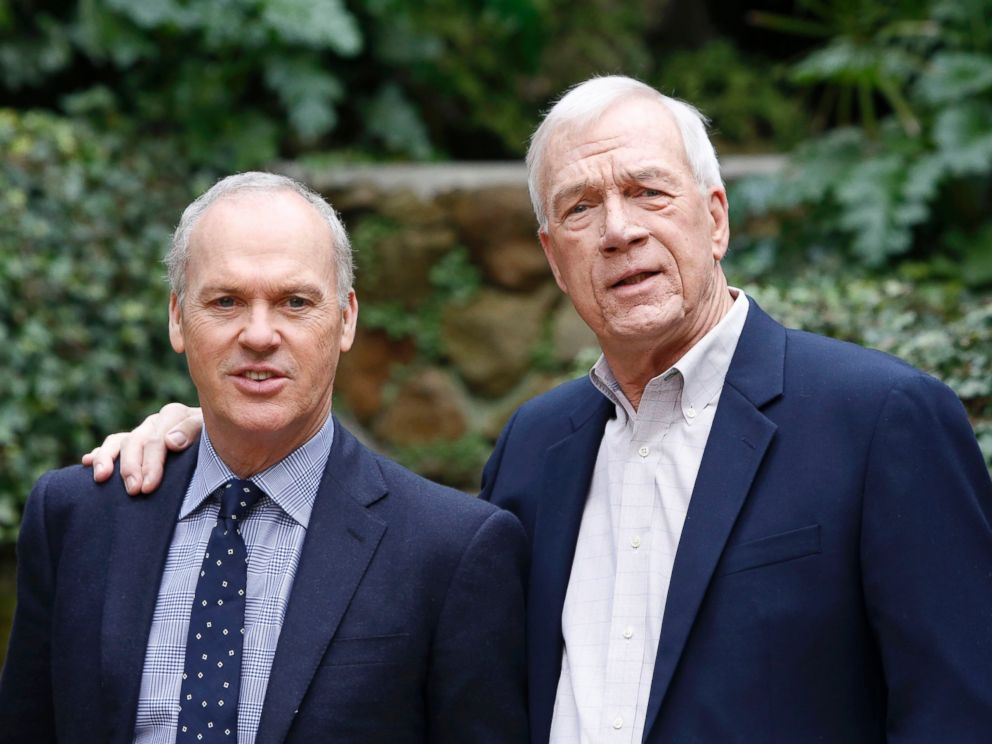 PHOTO: Michael Keaton and journalist Walter Robinson, right, attenda photocall to present the movie Spotlight, Jan. 23, 2016, in Rome.