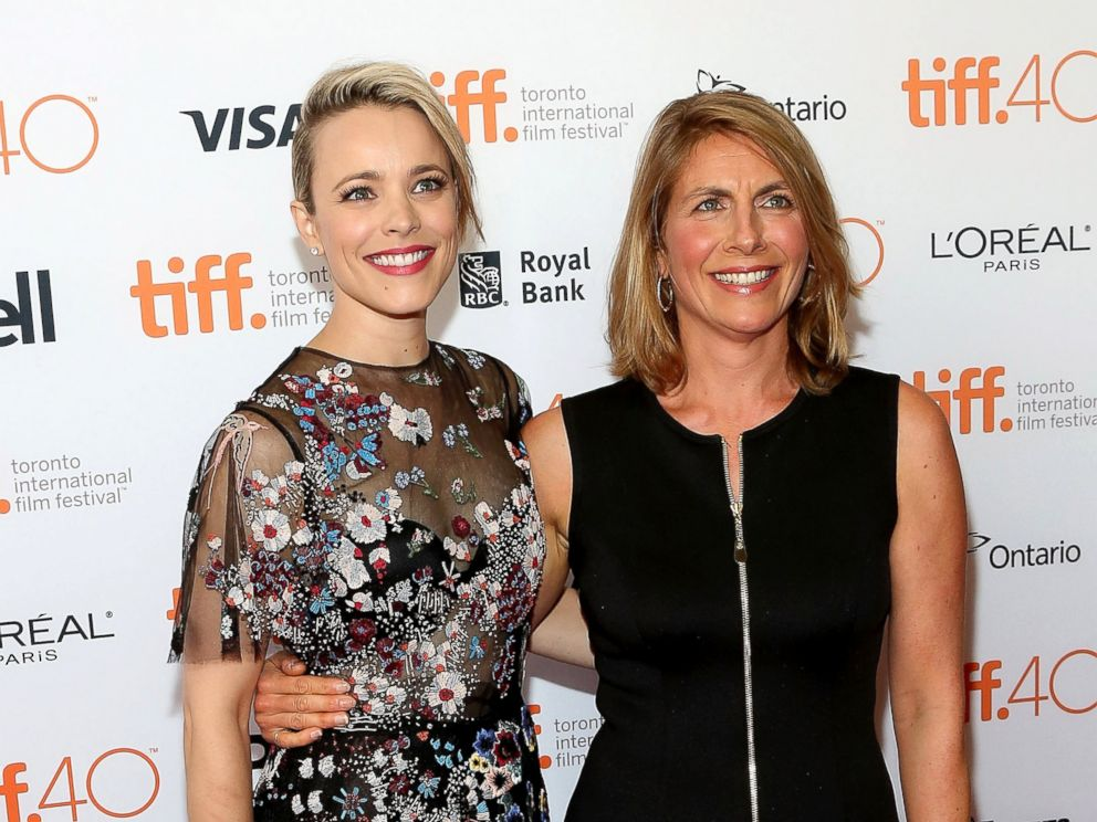 PHOTO: Rachel McAdams, left, and Sasha Pfeiffer pose together at the premiere of Spotlight at Princess of Wales Theatre during the 2015 Toronto International Film Festival, Sept. 14, 2015, in Toronto.
