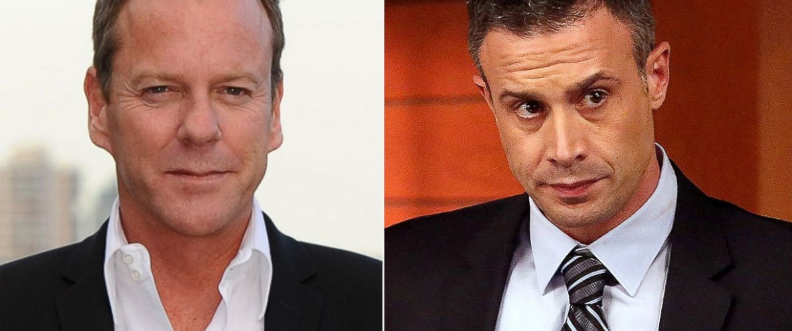 """PHOTO: Kiefer Sutherland, left, is pictured on May 6, 2014 in London. Freddie Prinze, Jr., right, is pictured in a March 2014 episode of """"Bones."""""""