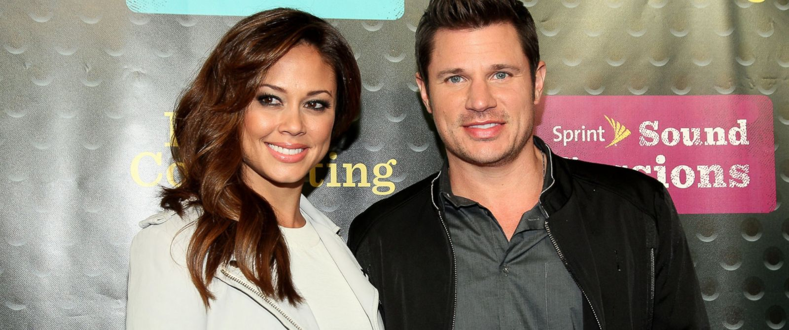 PHOTO: Vanessa Minnillo and Nick Lachey are seen at Webster Hall on April 29, 2014 in New York City.