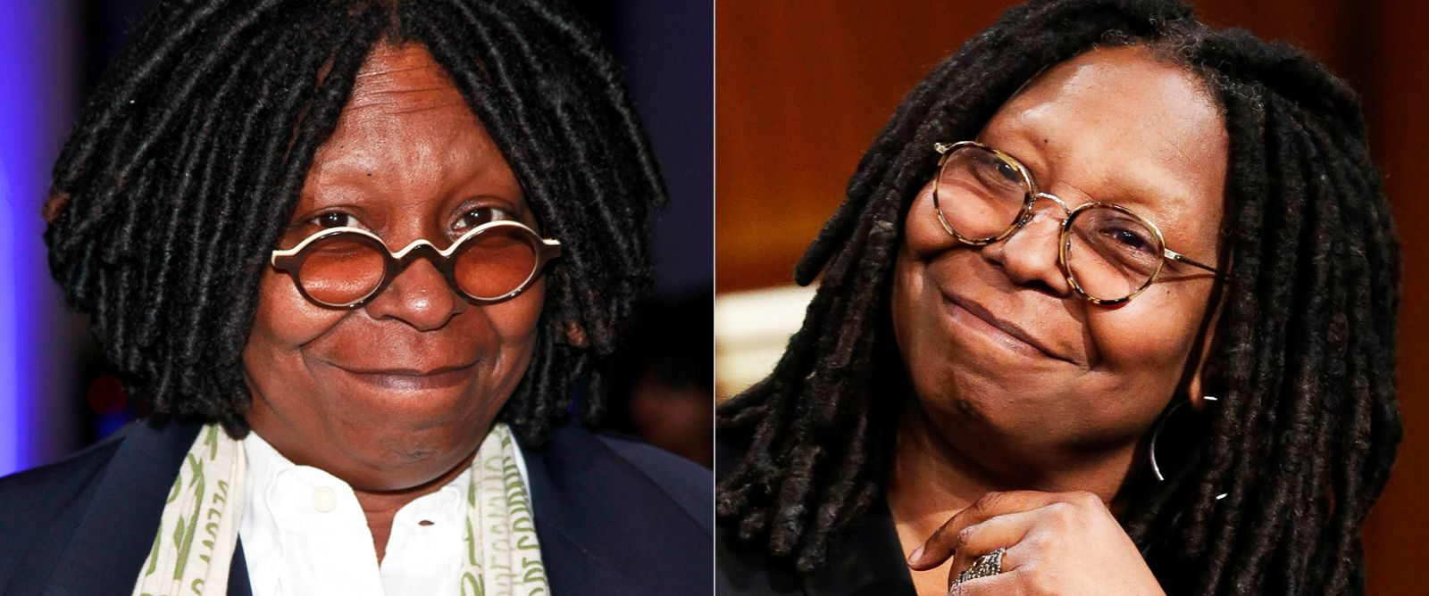 PHOTO:Whoopi Goldberg, left, attends DIFFA Presents a Tribute to David Rockwell at The IAC Building in this Nov. 9, 2011, file photo; right, Goldberg during an interview April 3, 2014.