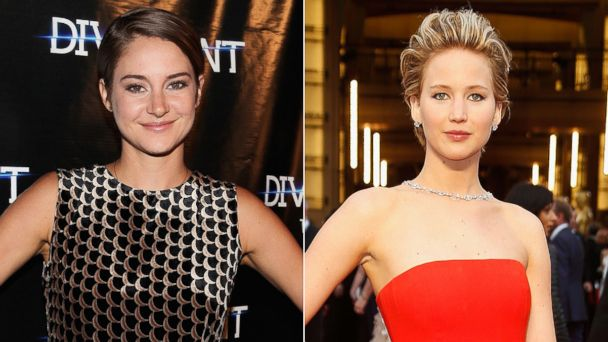 PHOTO: Shailene Woodley, left, is pictured on March 4, 2014 in Chicago, Ill. Jennifer Lawrence, right, is pictured on March 2, 2014 in Hollywood, Calif.