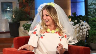 """PHOTO: Newly engaged actress Kaley Cuoco makes an appearance on """"The Ellen DeGeneres Show"""" on Nov. 7, 2013."""