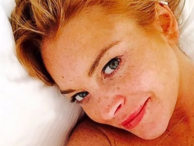 Lindsay Lohan Shares a Selfie from Bed