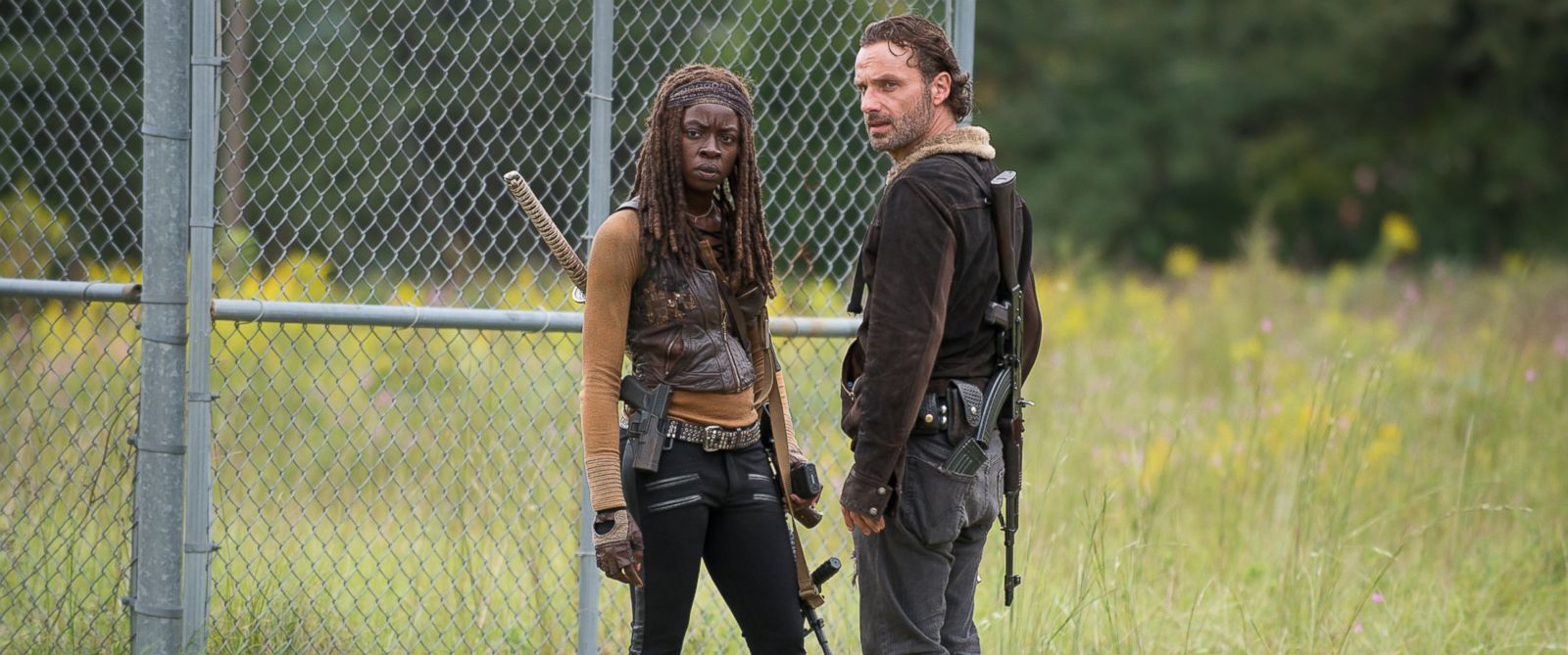PHOTO: Danai Gurira as Michonne and Andrew Lincoln as Rick Grimes on The Walking Dead, Season 6, Episode 12.