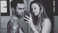 Adam Levine and His Pregnant Wife Behati Prinsloo Take a Selfie