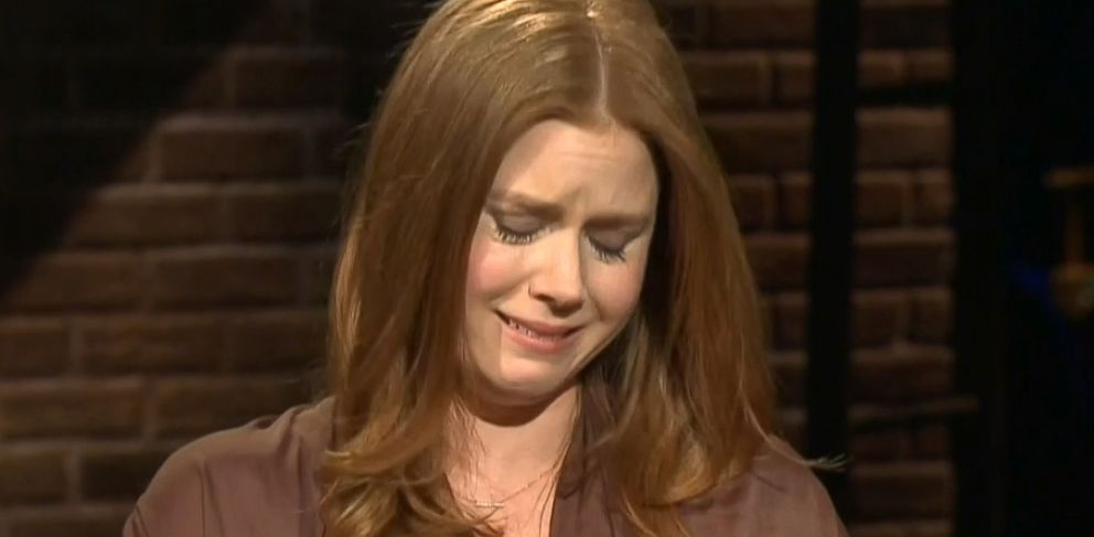 PHOTO: Amy Adams cries as she speaks about working with Philip Seymour Hoffman on an episode of Inside the Actors Studio, Feb. 19, 2014 in New York.