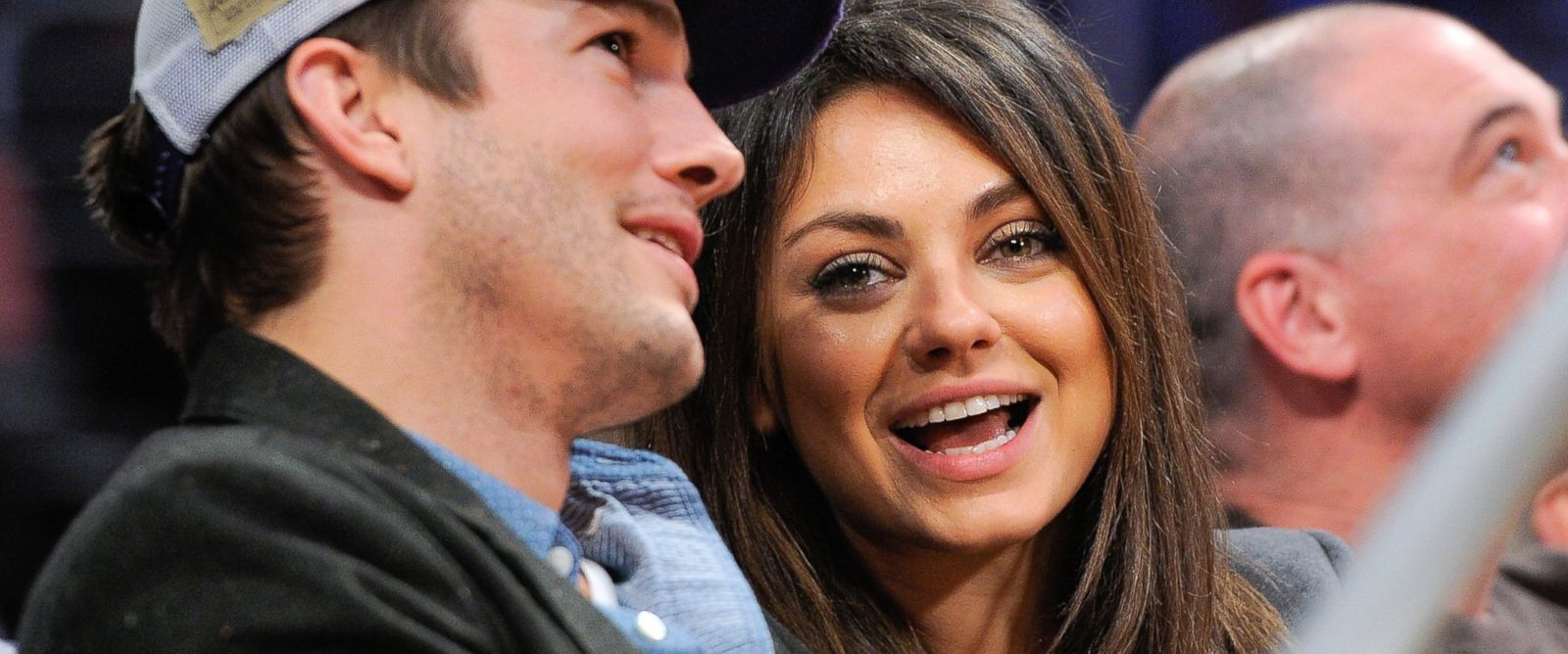 PHOTO: Ashton Kutcher and Mila Kunis attend a basketball game between the Utah Jazz and the Los Angeles Lakers at Staples Center, Jan. 3, 2014, in Los Angeles.