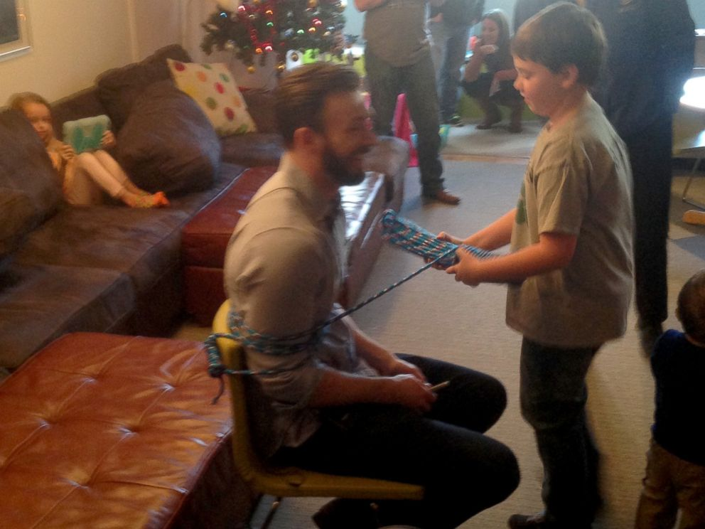PHOTO: Chris Evans aka Captain America visits the children of Christophers Haven in Boston.