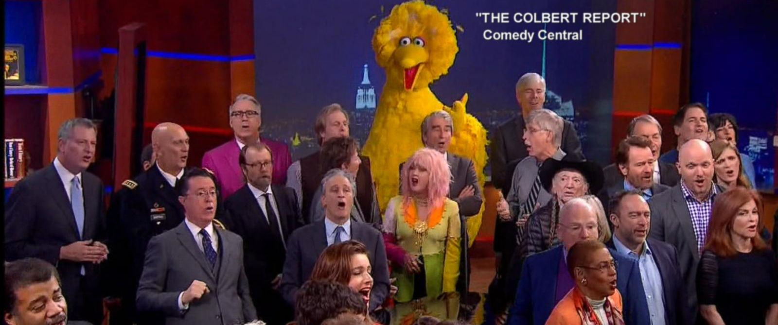 """PHOTO: Stephen Colbert was joined by numerous celebrities on the final episode of """"The Colbert Report"""" on Comedy Central, Dec. 18, 2014."""