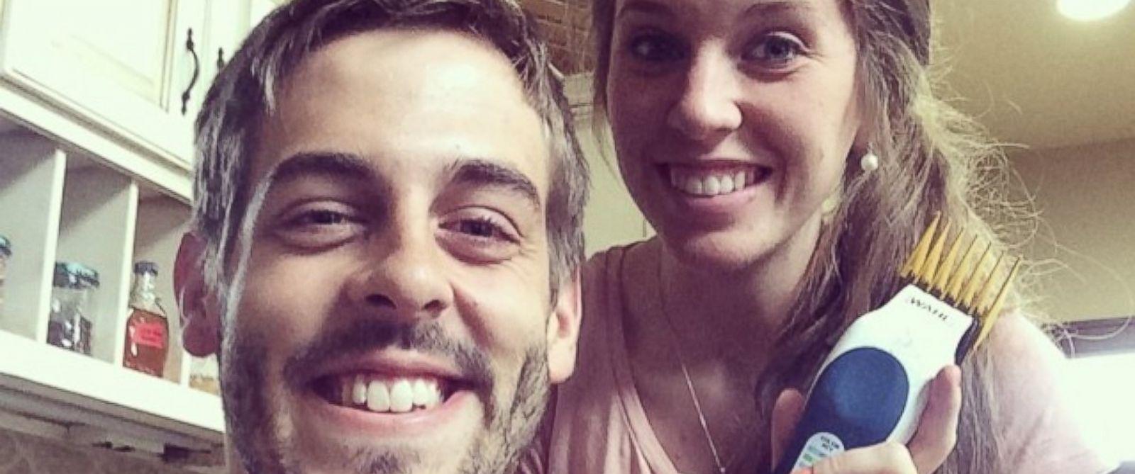 "PHOTO: Jill Dillard posted this photo on Instagram with this caption: ""Giving my man a haircut. ?? #haircut #derickdillard #jilldillard #savemoneylivebetter,"" July 9, 2014."