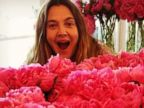 Drew Barrymore Poses with Peonies