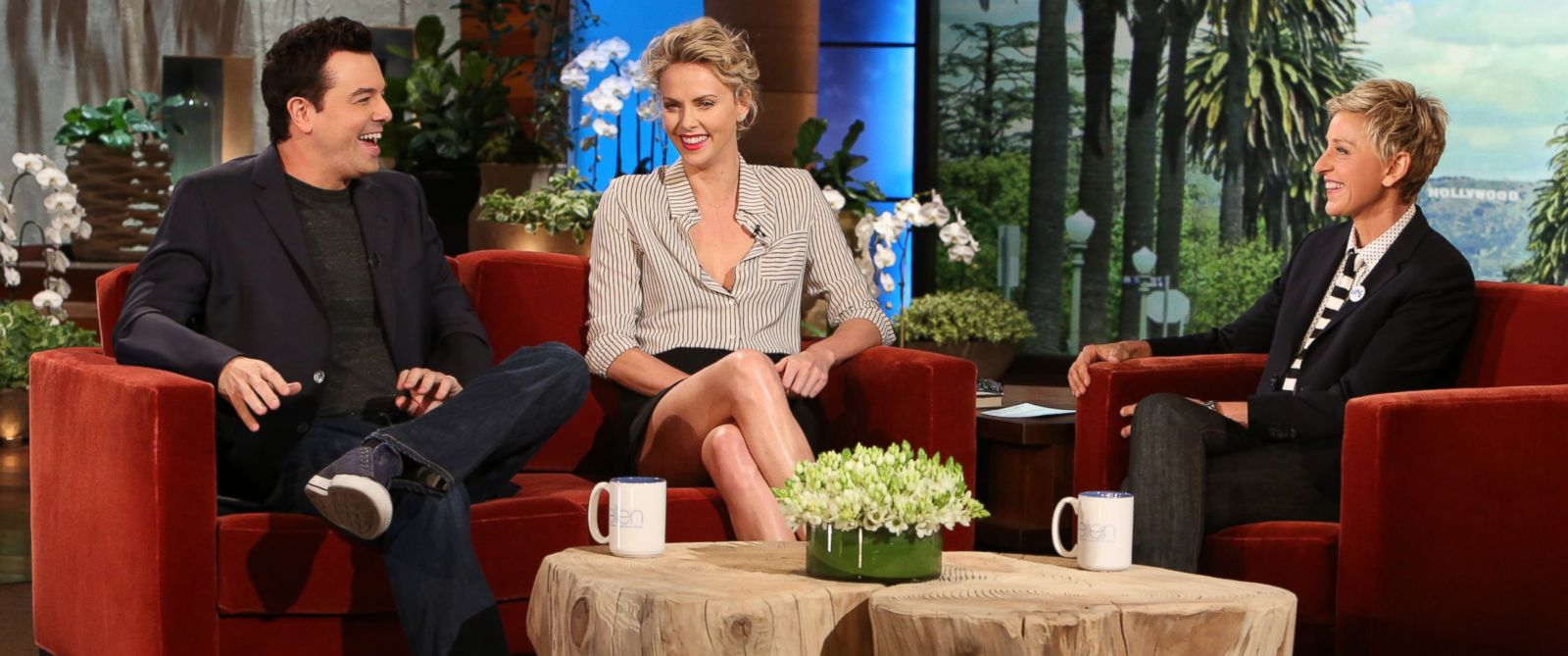 "PHOTO: Charlize Theron and Seth McFarlane make an appearance on ""The Ellen DeGeneres Show,"" May 21, 2014."