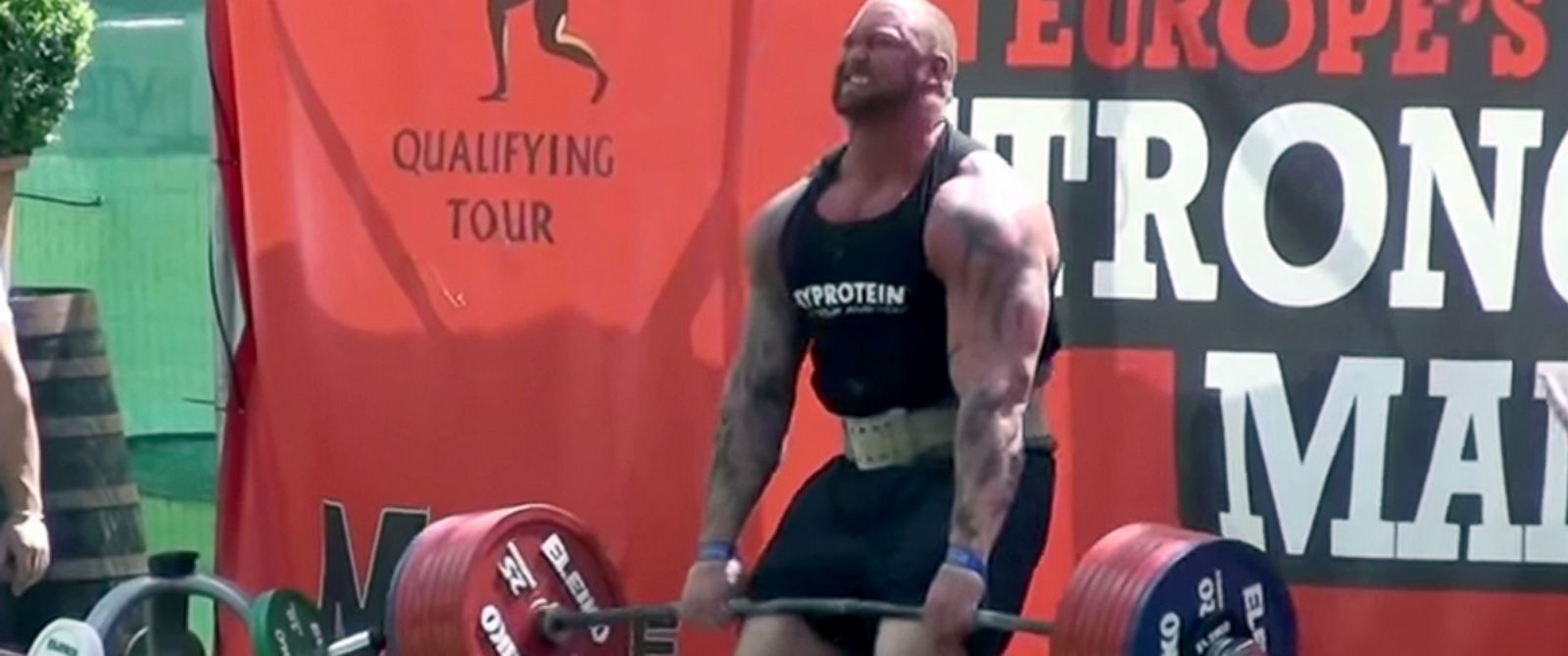 PHOTO: Hafthor Bjornsson who plays the Mountain in Game of Thrones competes in Europes Strongman Competition.