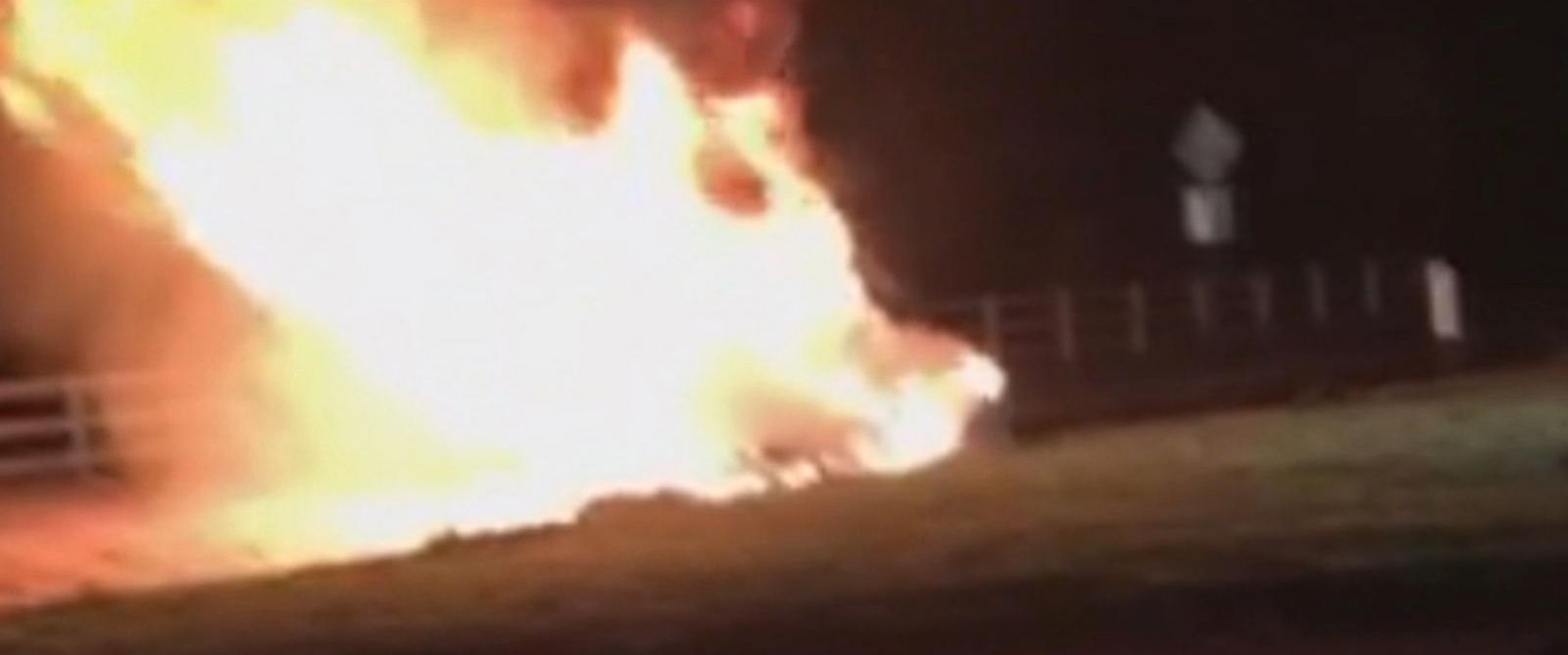 PHOTO: A man was rescued from this car, seconds before it went up in flames, by Oscar winner Jamie Foxx.