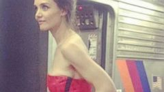 PHOTO: Katie Holmes Boards a Train in an Evening Gown