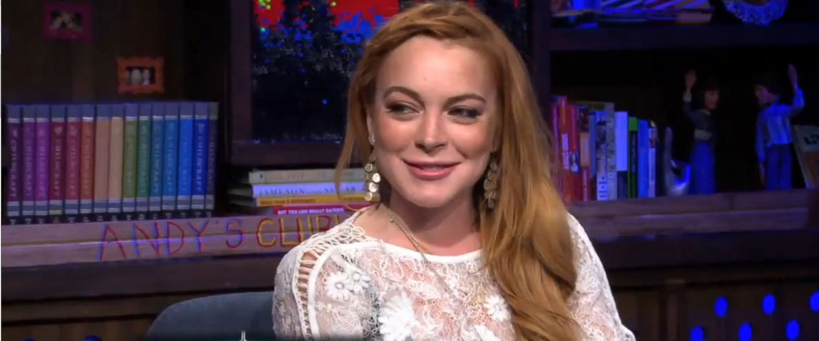 "PHOTO: Lindsay Lohan reacts to a personal question on ""Watch What Happens Live,"" April 17, 2014."