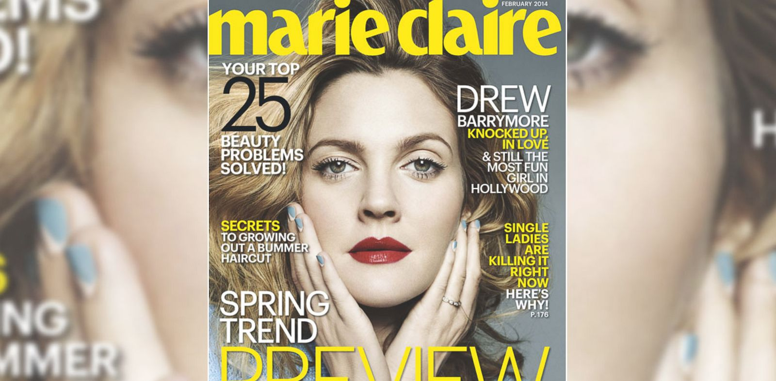 PHOTO: Drew Barrymore graces Marie Claires February cover.