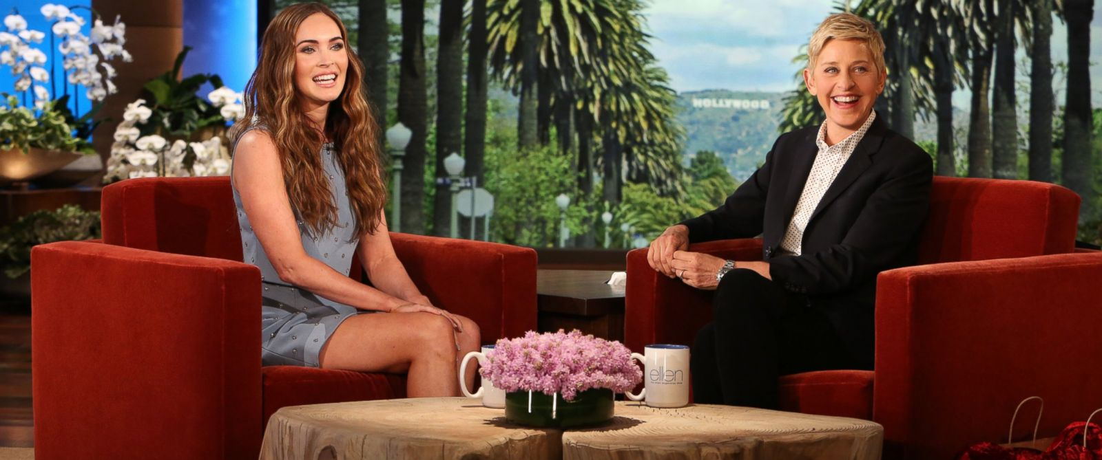 PHOTO: Megan Fox speaks with Ellen DeGeneres on The Ellen DeGeneres Show, May 5, 2014.