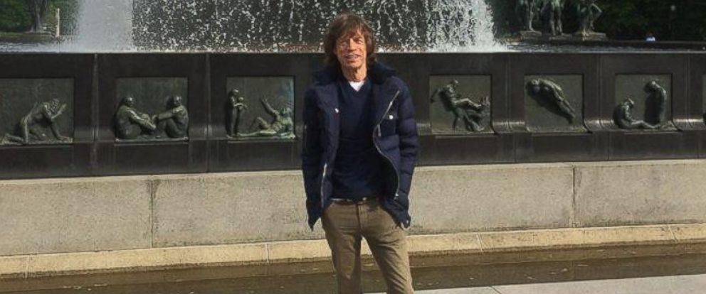 PHOTO: Mick Jagger in Frogner Park in Oslo, Norway, May 26, 2014.