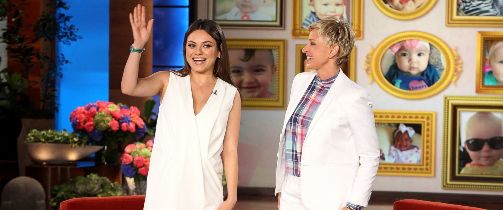 "PHOTO: Mila Kunis makes an appearance on ""Ellens Mothers Day Show,"" May 9, 2014."