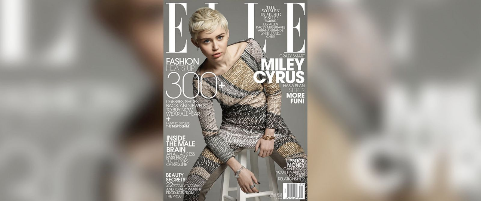 PHOTO: Miley Cyrus on the cover of the May 2014 issue of Elle.