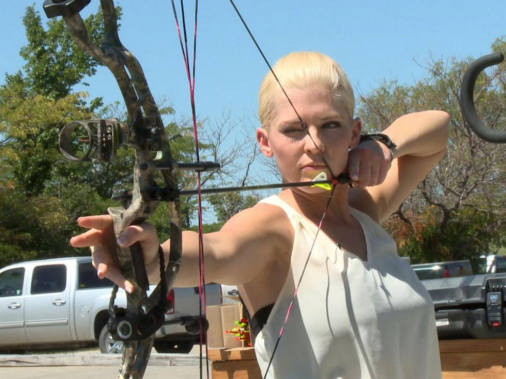 PHOTO: Miss Kansas Theresa Vail is an expert marksman with the M16 rifle as well as in archery.