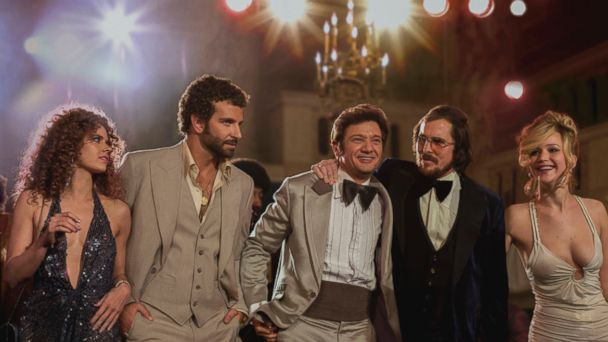 "PHOTO: Jennifer Lawrence, far right, appears in a promotional image for the film ""American Hustle."""