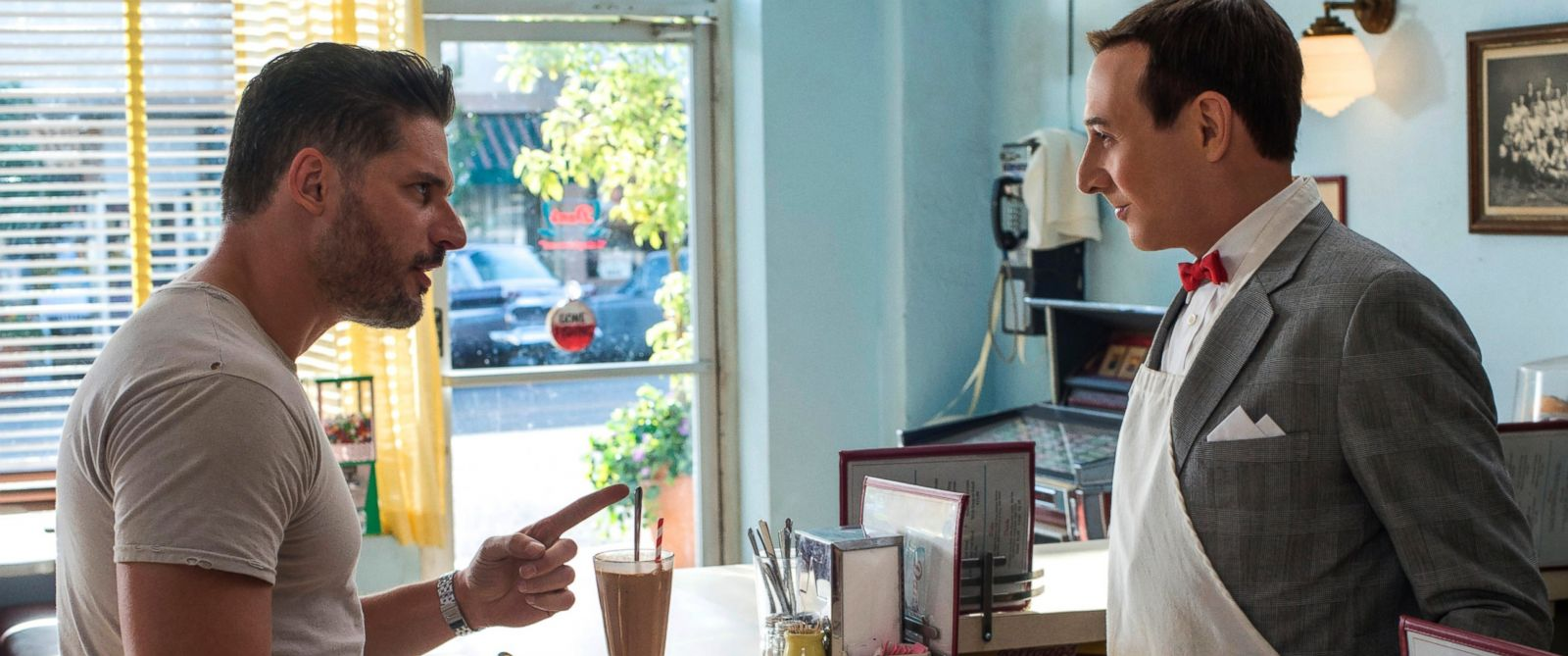 """PHOTO: Joe Manganiello, left and Paul Reubens in a scene from """"Pee-wees Big Holiday."""""""
