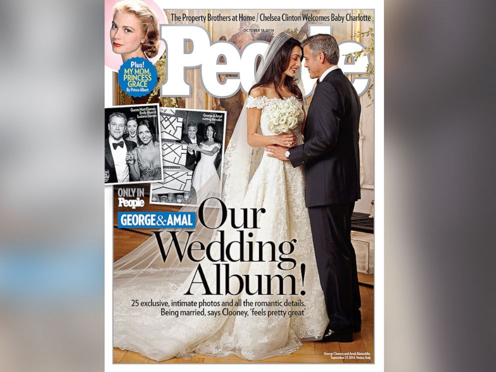 PHOTO: George Clooney and Amal Alamuddin on the cover of People, out Oct. 13, 2014.