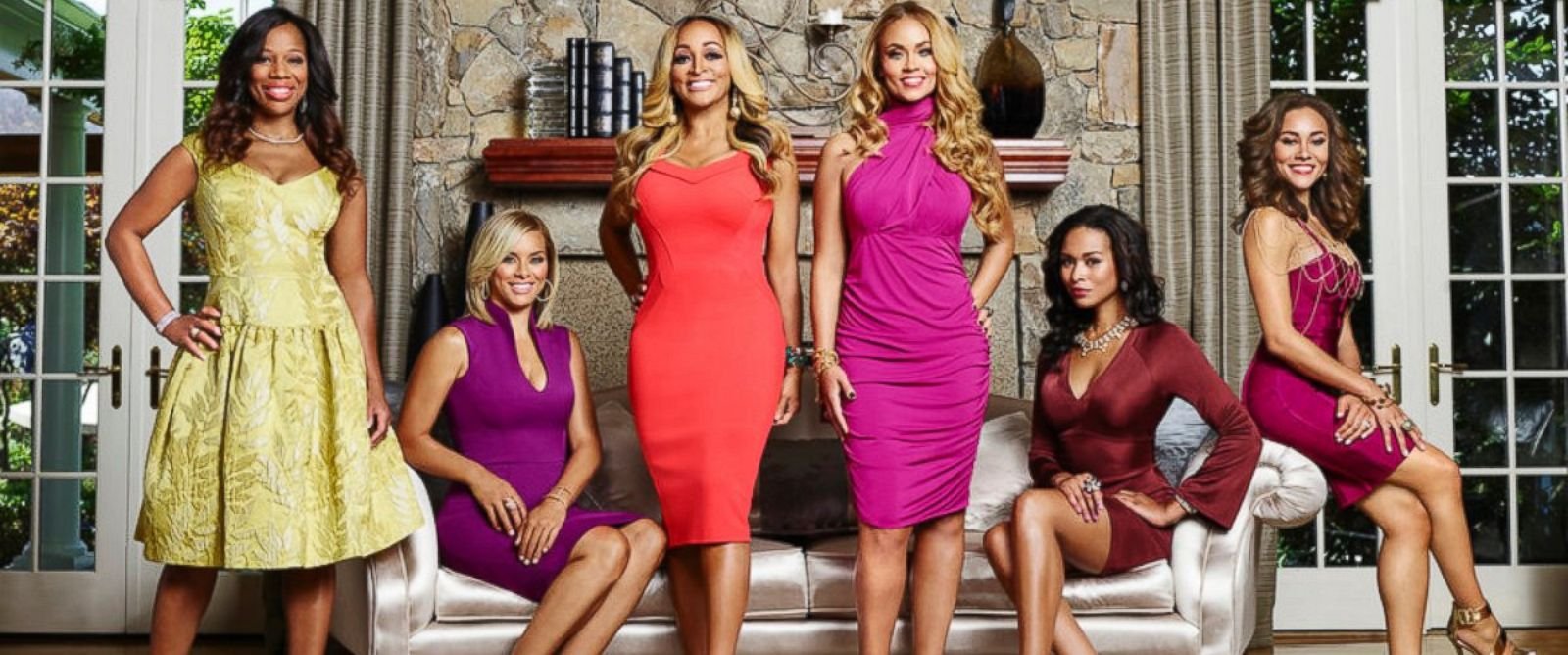 """PHOTO: From left, Charrisse Jackson Jordan, Robyn Dixon, Karen Huger, Gizelle Bryant, Katie Rost, Ashley Boalch Darby of """"The Real Housewives of Potomac."""""""