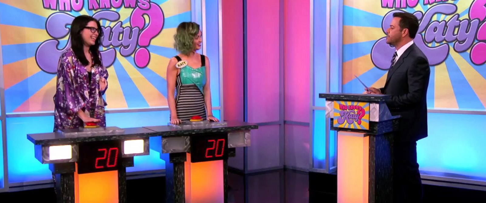"PHOTO: Katy Perry faces off in a trivia contest against one of her biggest fans, Emily, on ""Jimmy Kimmel Live,"" April 21, 2014."
