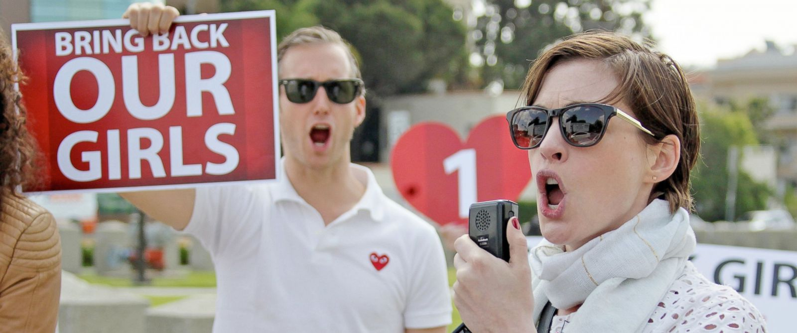 PHOTO: Anne Hathaway and husband Adam Schulman join a Bring Back Our Girls rally in Los Angeles, May 8, 2014.