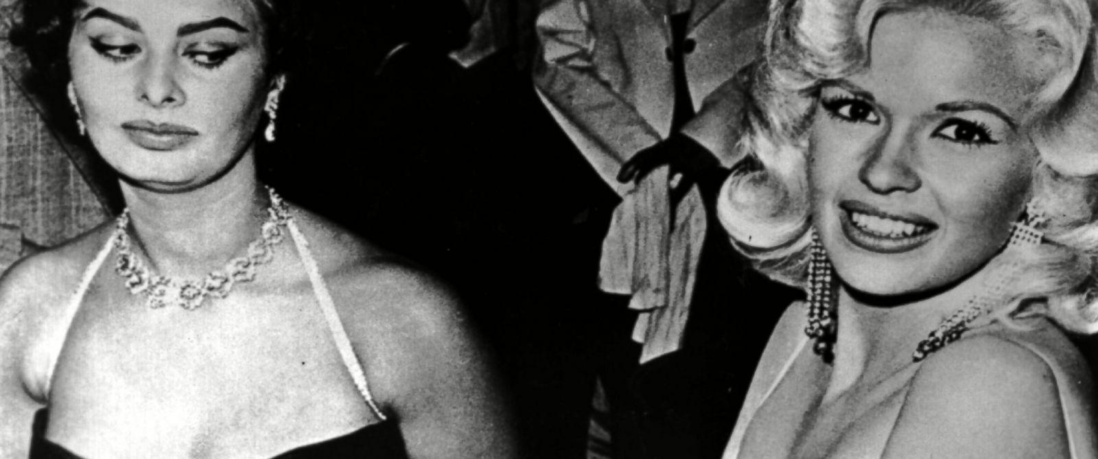PHOTO: Sophia Loren eyes Jayne Mansfield 57 years ago at a Paramount party.