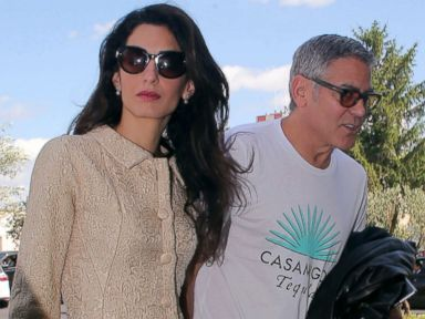 Amal and George Clooney Step Out in Rome