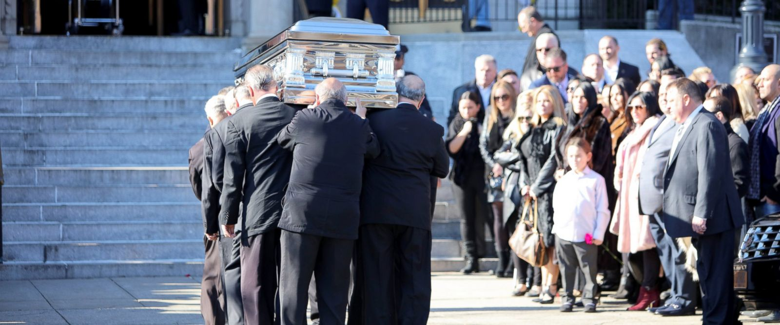 """PHOTO: Family and friends leave St Rosalia-Regina Pacis Church in Brooklyn, New York after the funeral of Angela """"Big Ang"""" Raiola who stars in the show """"Mob Wives,"""" Feb. 22, 2016."""