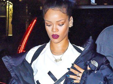 Rihanna Steps Out With Blue Hair