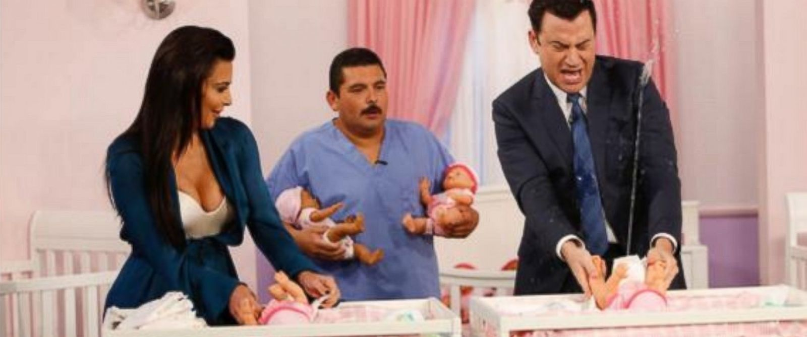 "PHOTO: Kim Kardashian and Jimmy Kimmel change diapers in a contest on ""Jimmy Kimmel Live,"" Aug. 4, 2014."