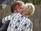 PHOTO: Charlize Theron, right, is embraced by Sean Penn, left, as the couple took Therons son Jackson to the Underwood Family Farm on Feb. 9, 2012 in Moorpark, Calif.
