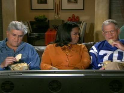 VIDEO: David Letterman appears in a TV ad with Jay Leno and Oprah Winfrey.